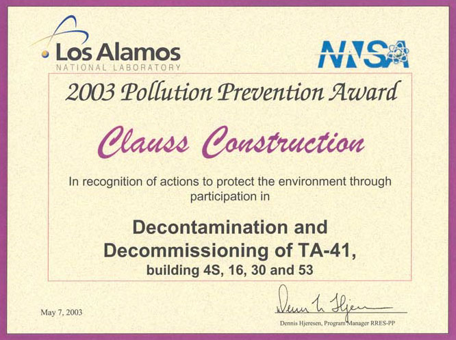 Los-Alamos-2003-Pollution-Prevention-Certificate